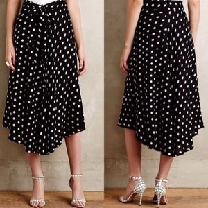 Anthropologie Porridge Black Tandy Skirt Polka Dot